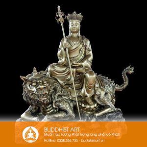 Tượng Địa Tạng Vương Bồ Tát cưỡi đề thính bằng đồng 150cm