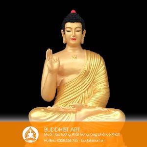 Tượng Phật A Di Đà ngồi bằng composite hoặc bột đá