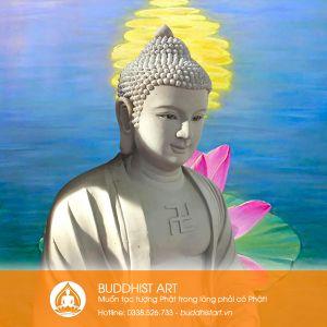 Tượng Phật A Di Đà dáng ngồi đài sen tạo mẫu trên đất sét