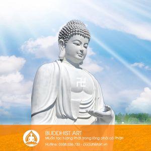 Tượng Phật A Di Đà dáng đứng bằng bột đá
