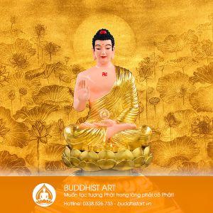 Tượng Phật A di đà dáng ngồi đài sen