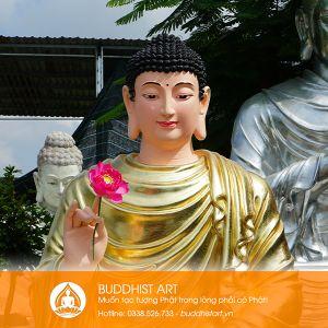 Tượng Phật Thích Ca bằng Composite hoặc bột đá ngồi đài sen
