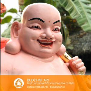 Tượng Phật Di Lặc gánh tiền bằng composite cao 2 mét