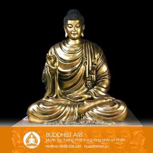 Tượng Phật Bổn Sư Thích Ca Niêm Hoa Vi Tiếu bằng đồng 150cm
